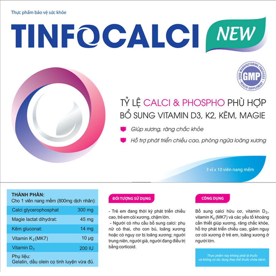 TinfoCalci New (Hộp 3 vỉ x 10 viên)