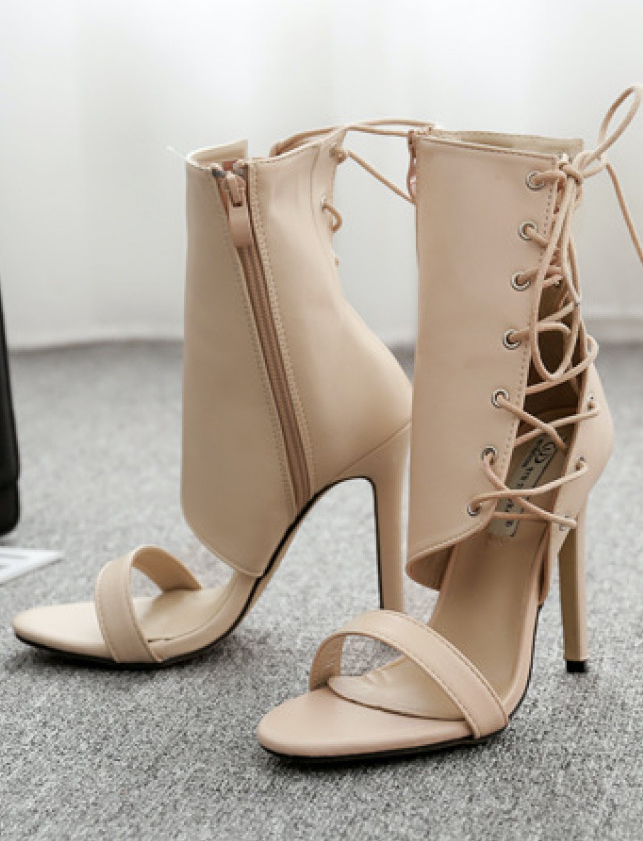 Sandal dây nữ màu kem cổ lửng NGỌT NGÀO GBN4202