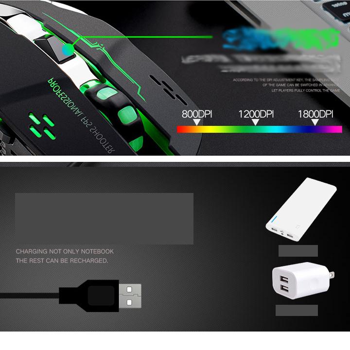 Chuột không dây chuyên game pin sạc EWEADN M500 Led Đa Màu -IT-Hàng Nhập Khẩu