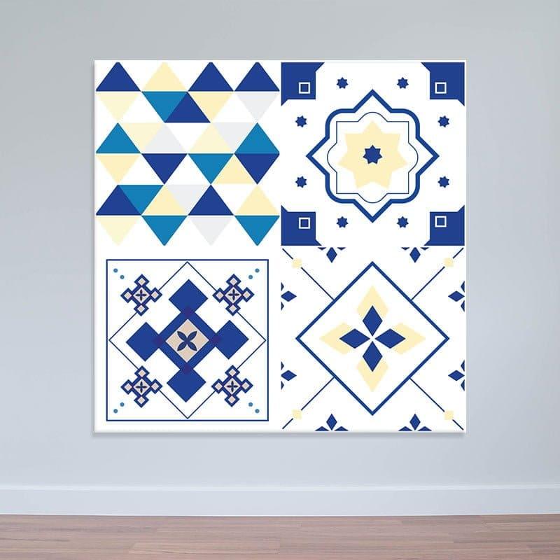 Decal hoa văn xanh trắng   Decal họa tiết dán tường WD161