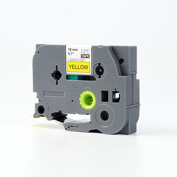 Tape nhãn in tương thích CPT-641 dùng cho máy in nhãn Brother P-Touch (chữ đen nền vàng, 18mm)