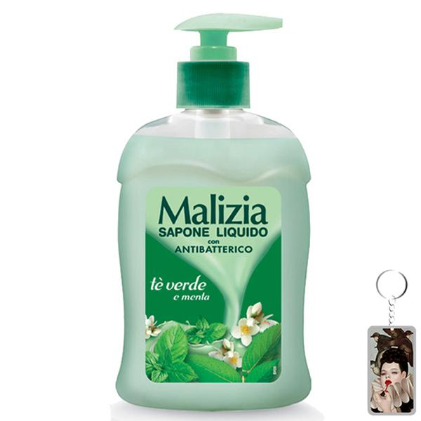 Nước rửa tay kháng khuẩn Malizia Green Tea & Mint 300ml tặng kèm móc khóa