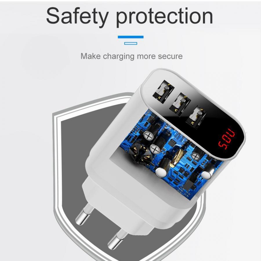 Adapter cóc sạc nhanh 3 cổng Baseus Travel Mirror Chip IC điều chỉnh dòng điện thông minh (Đầu tròn) - Hàng chính hãng