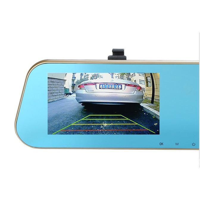 Camera hành trình tích hợp kính chiếu hậu và camera lùi Led ( Cao cấp có vạch kẽ đường)