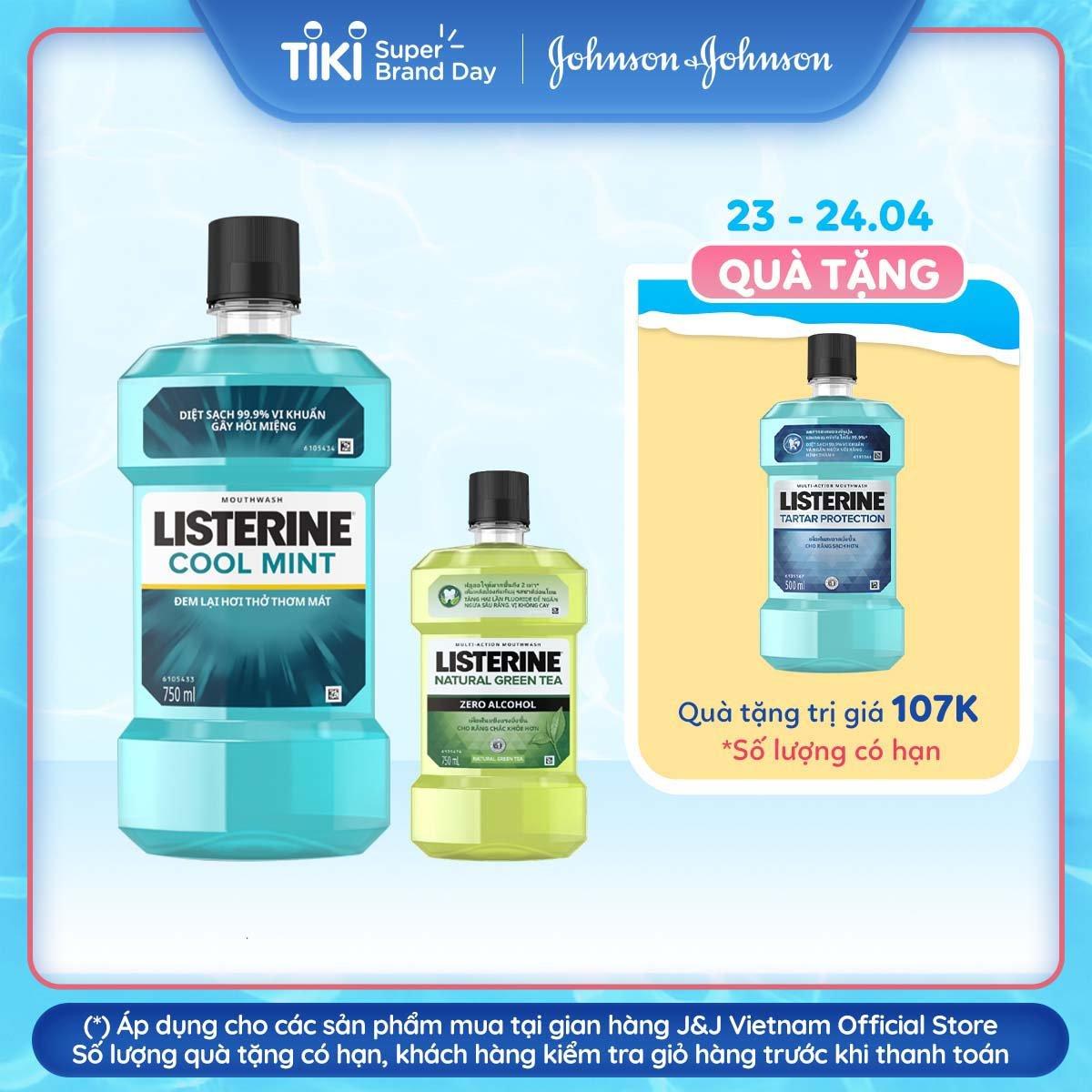 Bộ 2 Nước súc miệng Listerine Cool Mint 750ml + 1 trà xanh 250ml