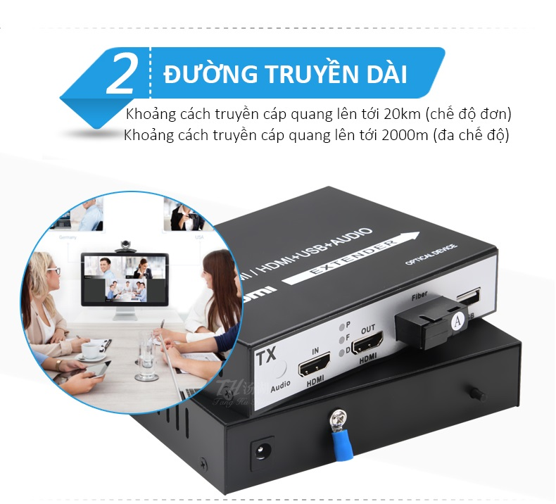 Bộ Kéo Dài HDMI và USB Qua Dây Quang Xa 20KM Hỗ Trợ 2 Cổng HDMI Và Audio