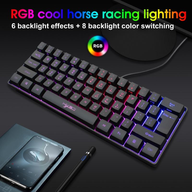 Bàn Phím gaming mini Led RGB V700 giả cơ nhỏ gọn - hàng nhập khẩu