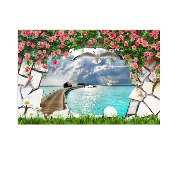 Tranh dán tường cửa sổ 3D   Tranh trang trí 3D   Tranh phong cảnh đẹp 3D   T3DMN_T6_164