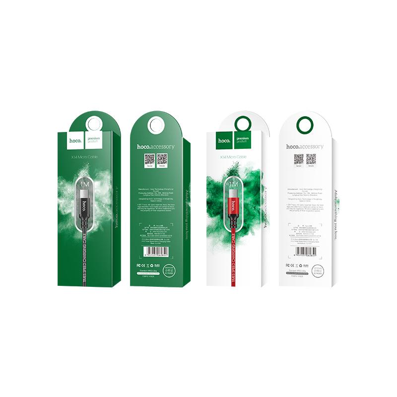 Cáp USB to MicroUSB dây dù X14 chính hãng Hoco 2m (màu ngẫu nhiên)