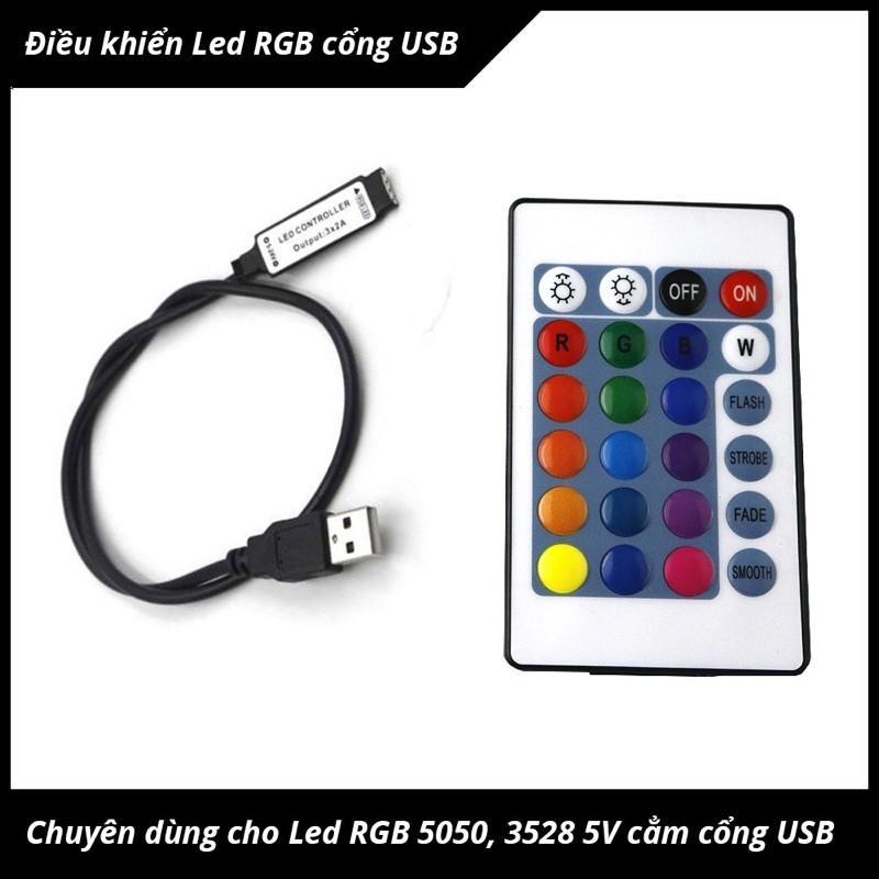Bộ điều khiển đèn led RGB cổng USB 5V đến 24V có remote điều khiển từ xa