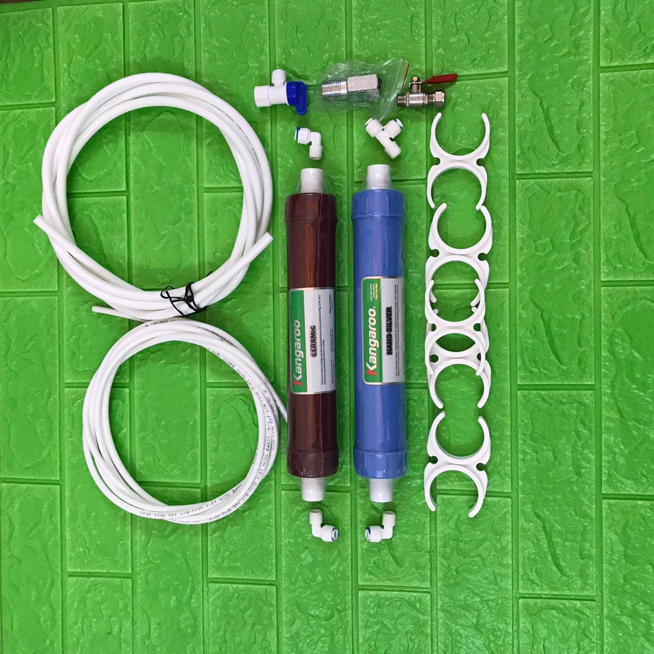 Combo 2 lõi lọc 5,6 Kangaroo kèm cút đấu nhanh, càng cua, khẩu chia nước, van bình áp, dây 1/4 và dây 3/8- hàng chính hãng Kangaroo