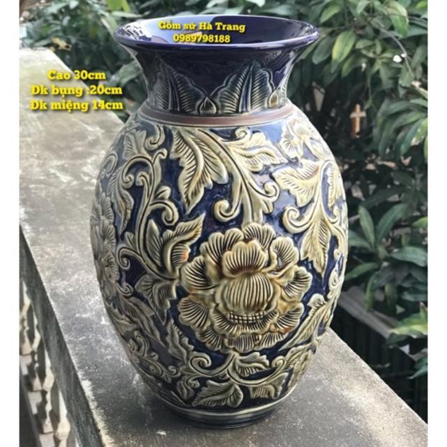 Bình hoa gốm sứ Bát Tràng cao cấp hoạ tiết hoa phù dung nổi