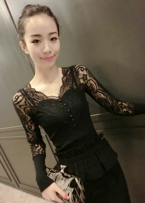 Áo kiểu nữ dài tay phối ren ARCTIC HUNTER AH62