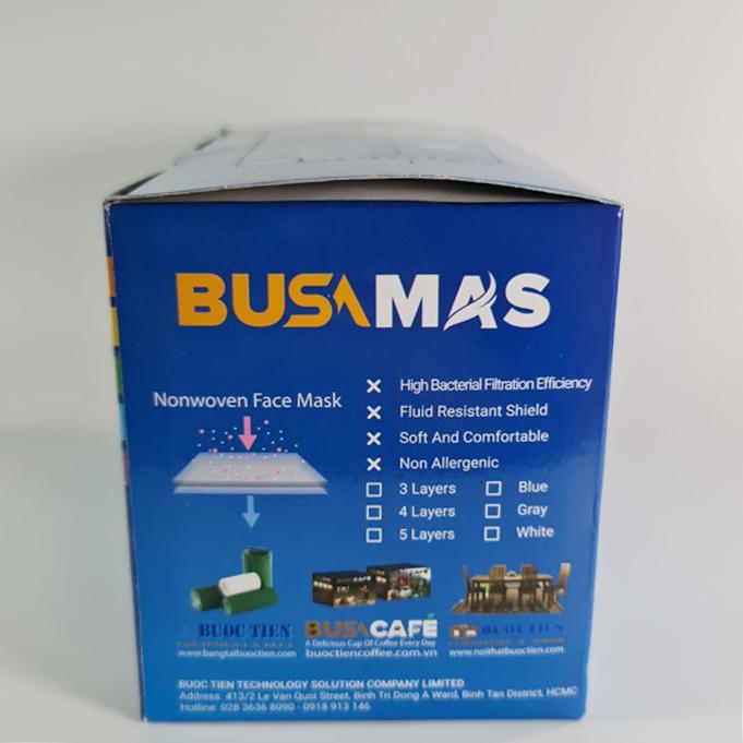 Khẩu Trang Y Tế 4 Lớp Busamas - Màu Trắng - Hộp 50 Cái- Hàng Xuất Khẩu Dư