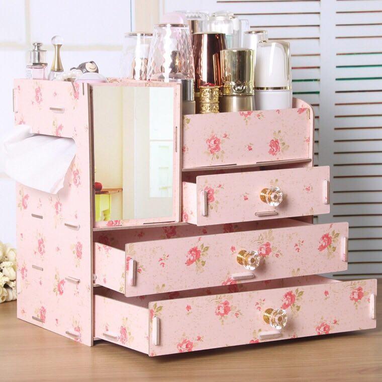 Kệ gỗ đựng đồ trang điểm có gương- Màu hoa trà
