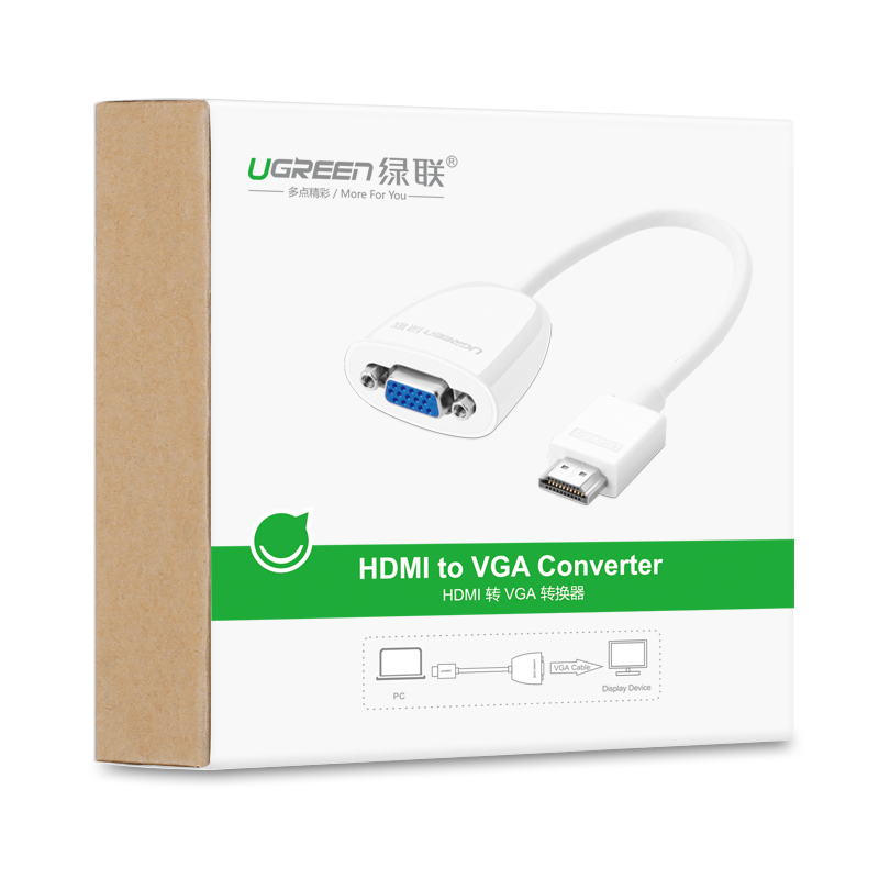 Bộ chuyển đổi HDMI sang VGA (không có Audio) độ phân giải 1920*1080@60Hz (Max) dài 16cm UGREEN MM102 40252 - Hàng Chính Hãng