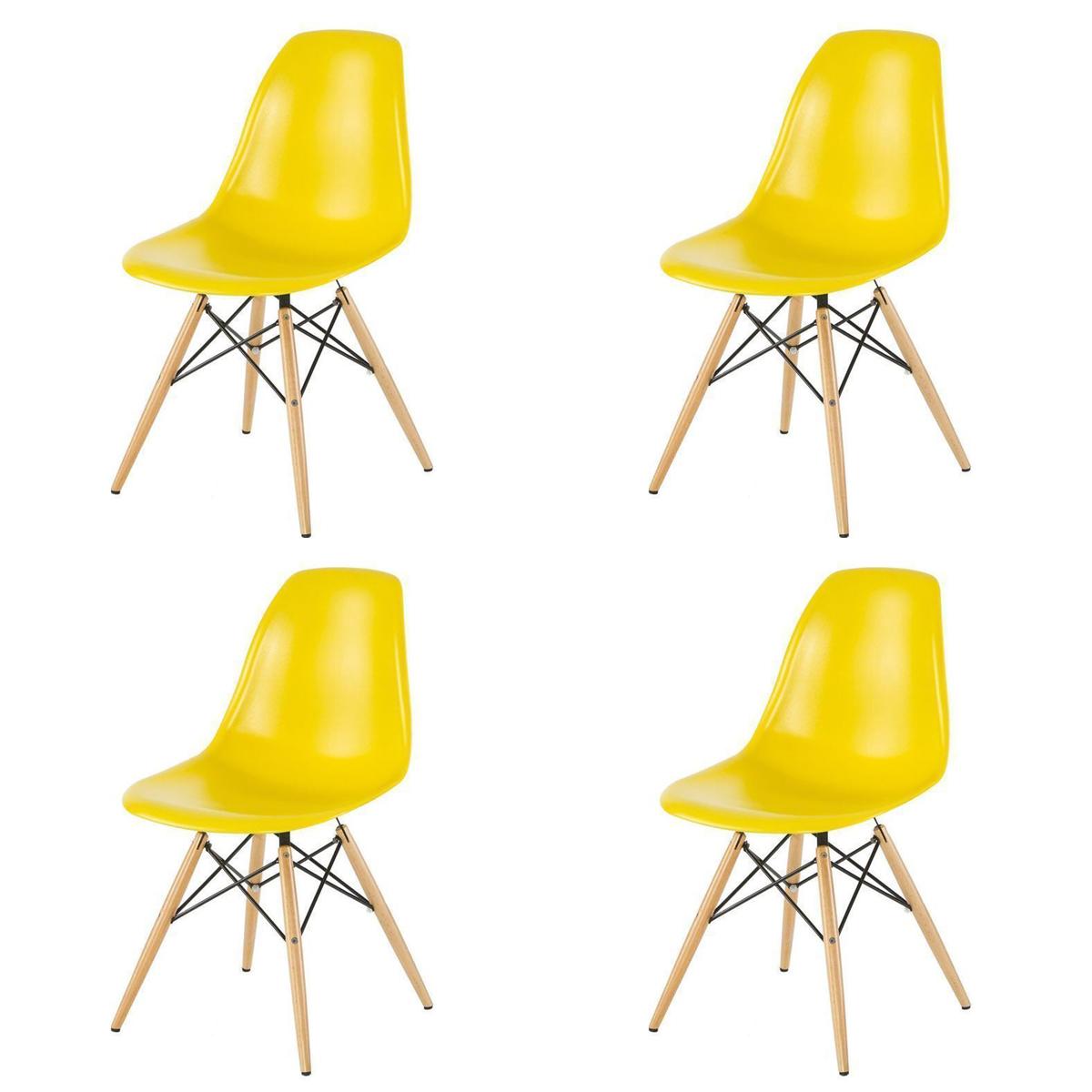 Bộ 4 ghế eames, ghế ăn, ghế cho bàn cafe màu vàng GA01