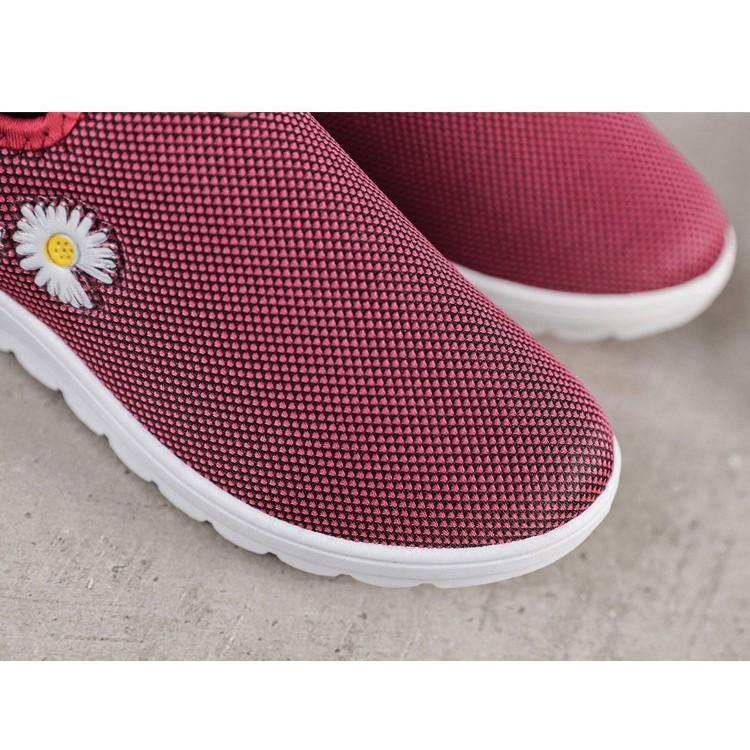 Giày Nữ Sneake cổ thấp lưới hoa daisy dạo phố D5