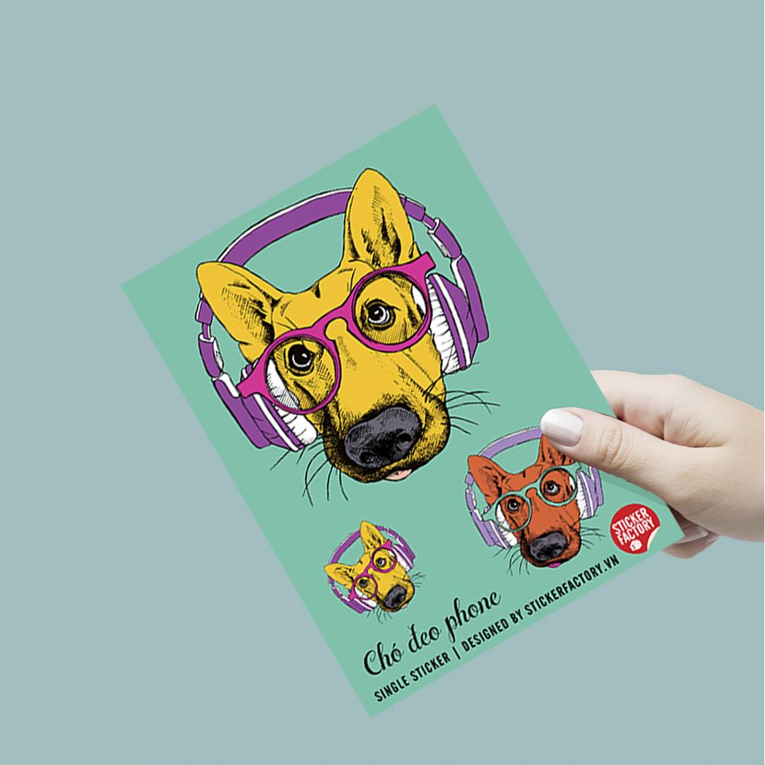 Chó Đeo Phone - Single Sticker hình dán lẻ