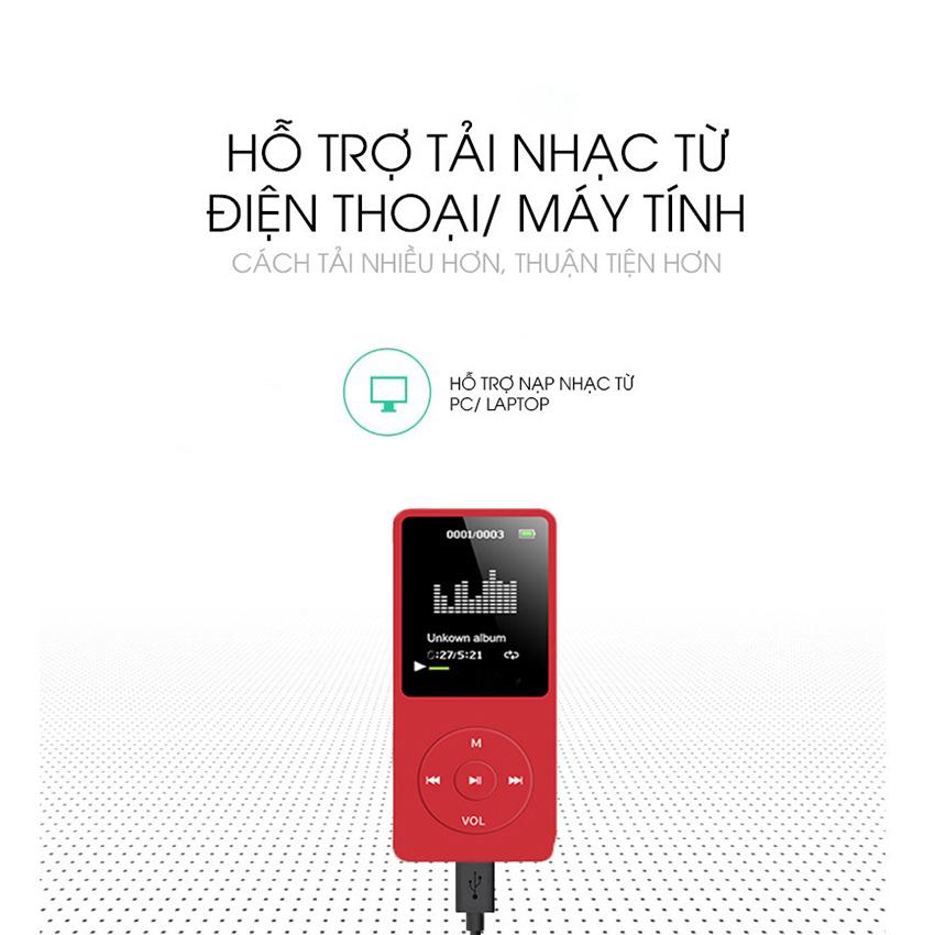 Máy nghe nhạc mp3 JS-01 siêu mỏng đa chức năng tặng tai nghe và dây sạc