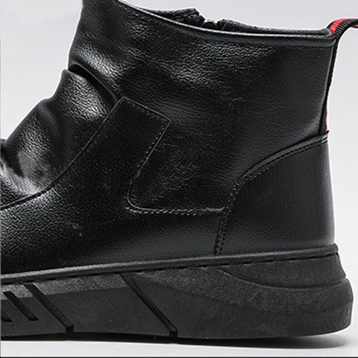Giày Boots Nam Cao Cổ Chất Liệu Da Mềm Cao 5cm Không Buộc Dây