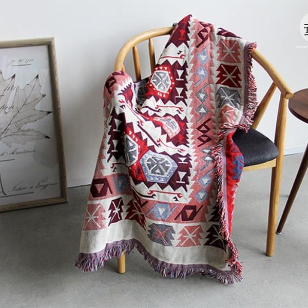 Thảm Vintage, Thảm Thổ Cẩm 180x90cm Nhập Khẩu Họa Tiết Bắc Âu
