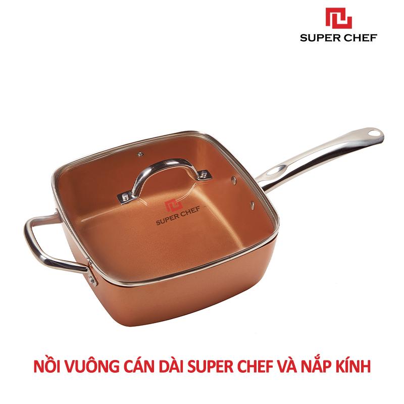 Nồi Chống Dính Ceramic Vuông  Cán Dài Super Chef Cao Cấp Siêu Bền Bỉ Không Bong Tróc, Chống Ăn Mòn, Đảm Bảo An Toàn Sức Khỏe Kèm Nắp Kính ( Size 20, 24cm)