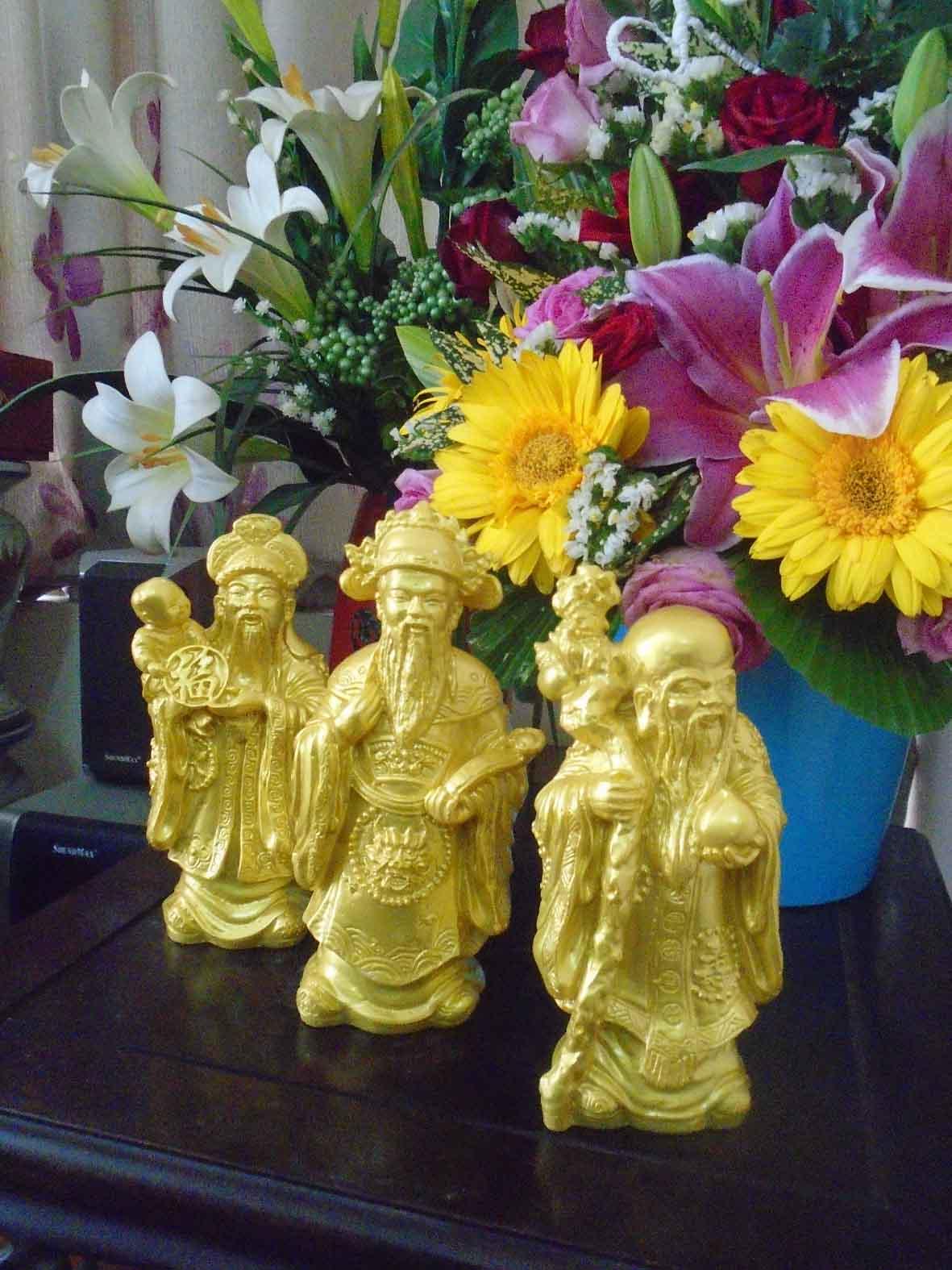 Bộ tượng đá Phúc Lộc Thọ vàng cao 17cm PLTV17