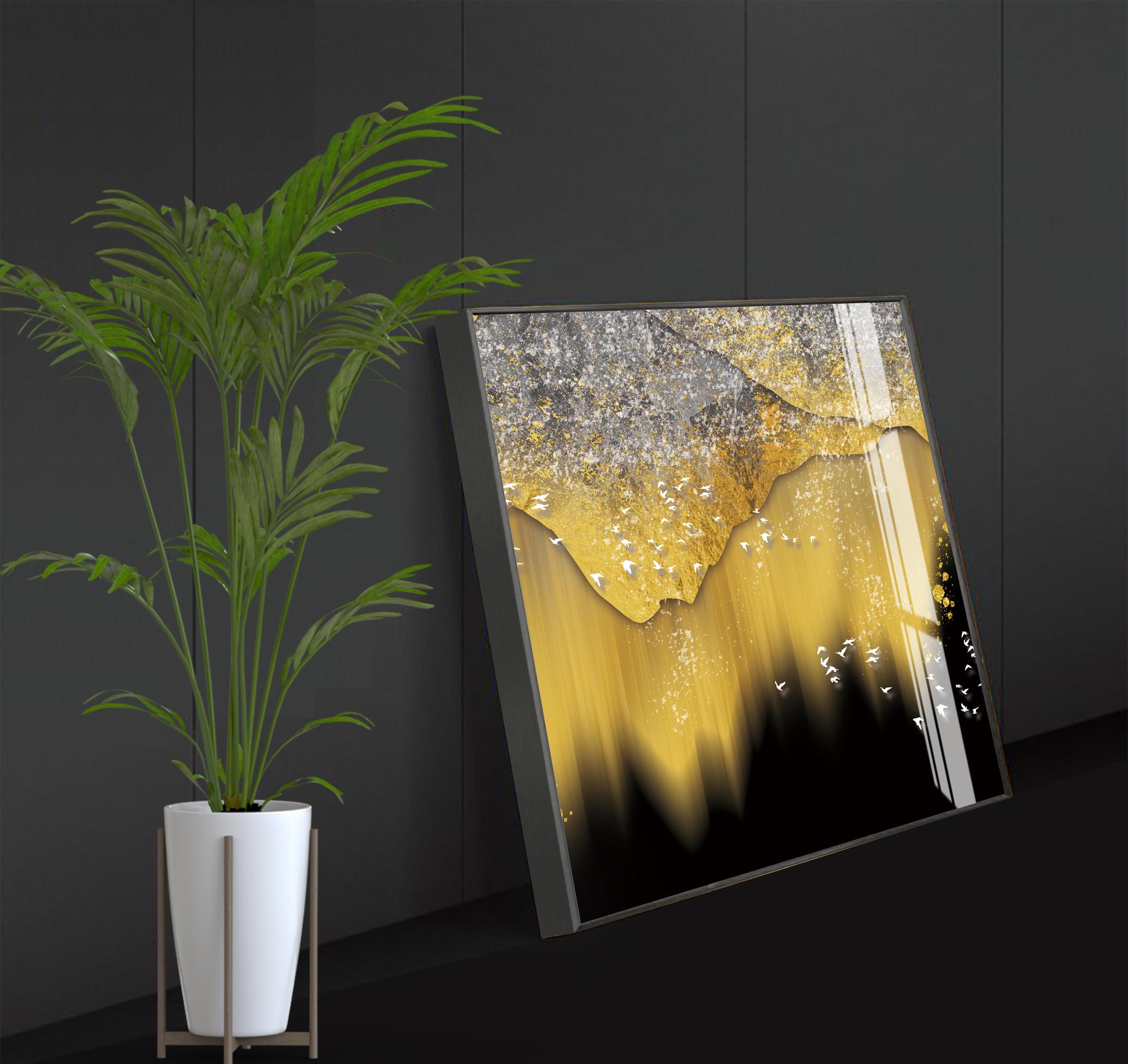 Tranh phong thuỷ Mica 3 bức Giấc mơ vàng trừu tượng (Hải Trung Kim). Model: AZ3-0122. Khung nhôm hoặc Composite. Hình ảnh sắc nét, sang trọng, phù hợp nhiều không trang trí