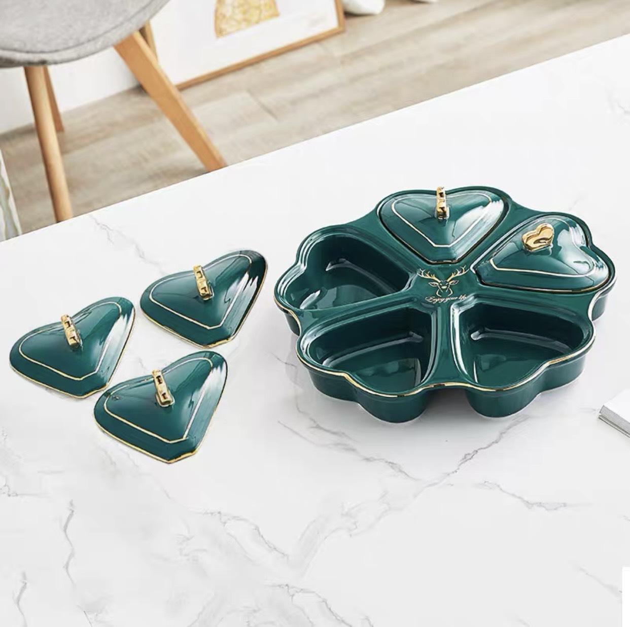Khay đựng mứt kẹo gốm sứ nghệ thuật LI-KHA0022 – Phong cách Châu Âu sang trọng, thanh lịch