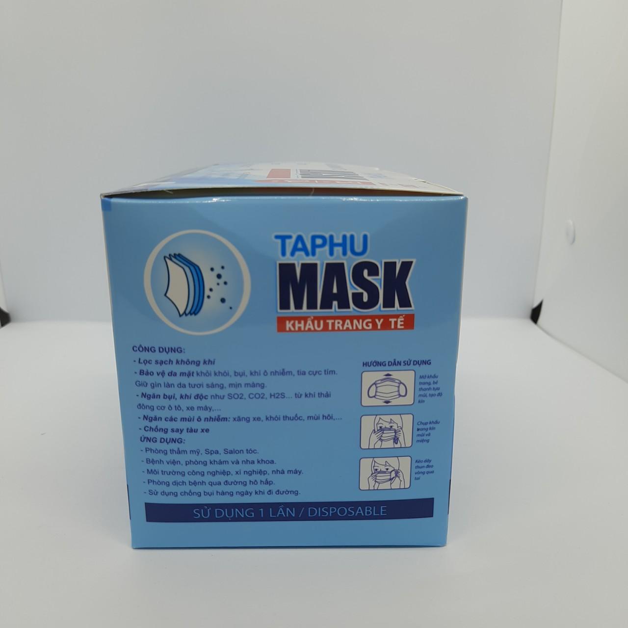 [COMBO 4 HỘP] Khẩu trang y tế 4 lớp hộp 50 cái màu xanh vải kháng khuẩn, có gọng mũi TAPHU MASK đạt tiêu chuẩn chất lượng của Bộ Y Tế