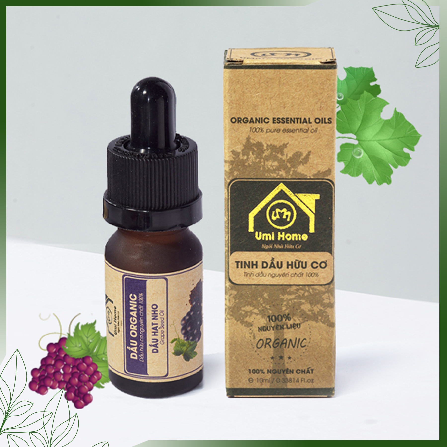 Dầu Hạt Nho Nguyên Chất Umi Home (10ml) Dầu dưỡng da chống lão hoá loại bỏ thâm mụn hiệu quả