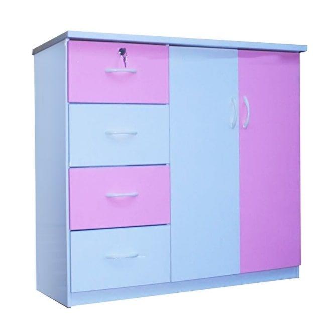 Tủ nhựa Đài Loan 2 cánh 4 ngăn T307 màu hồng (106 x 45 x 96 cm)