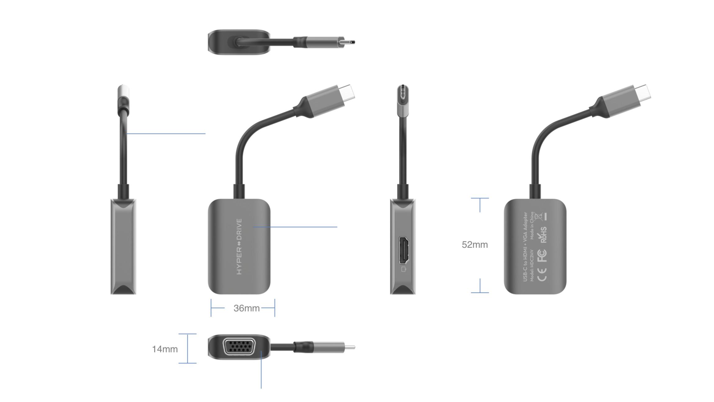 Cổng Chuyển HyperDrive 4K HDMI/VGA 2 in 1 USB-C Hub For iPad, MacBook, Surface, PC HD-C2HV - Hàng Chính Hãng