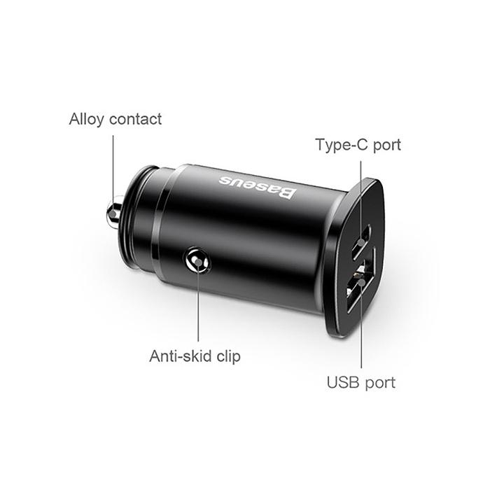 Tẩu sạc nhanh CCALL-AS01 đa năng 2 cổng USB và Type C dùng cho ô tô, xe hơi nhãn hiệu Baseus Circular  Plastic A+C, công suất 30W - Hàng Nhập Khẩu