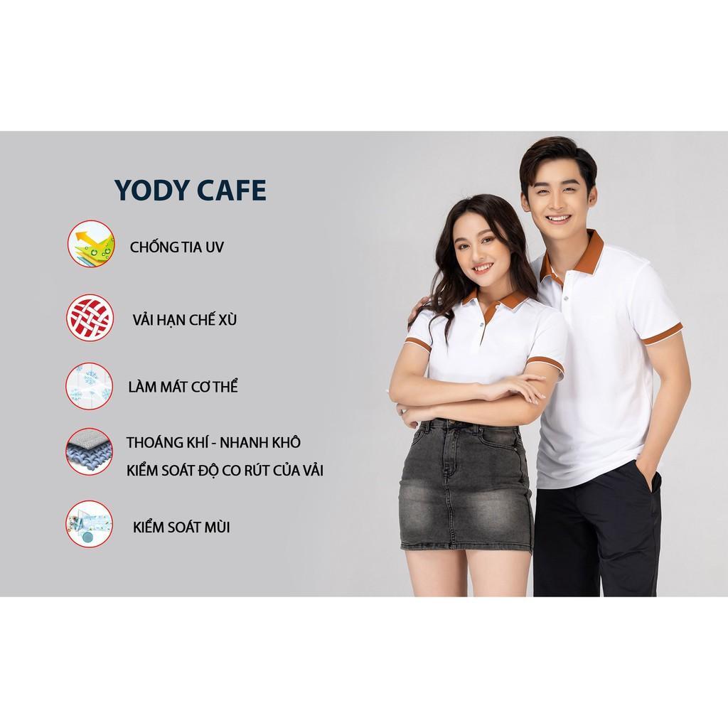 Áo Polo Nam Cafe Phối Nẹp YODY - ÁoThun Polo Chất Liệu Sợi Cafe Thoáng Mát Thấm Hút Mồ Hôi - APM3635