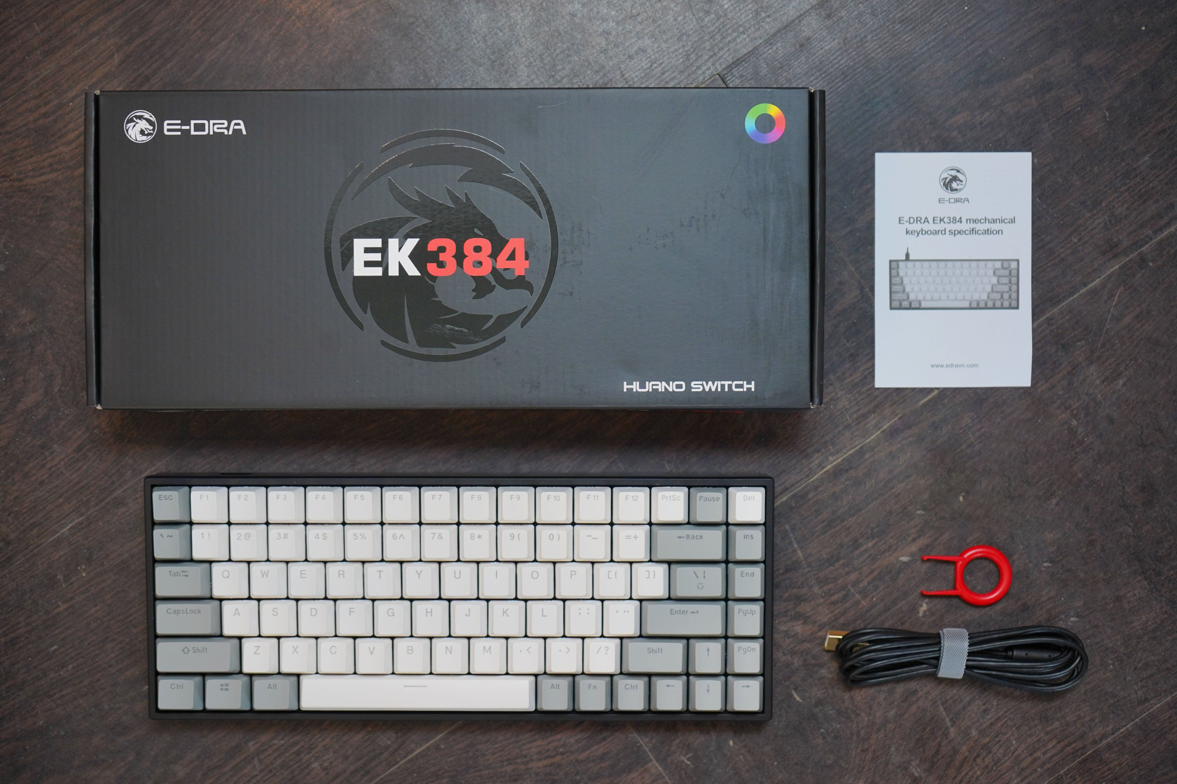Bàn phím cơ E-DRA EK384 Led RGB - Hàng chính hãng