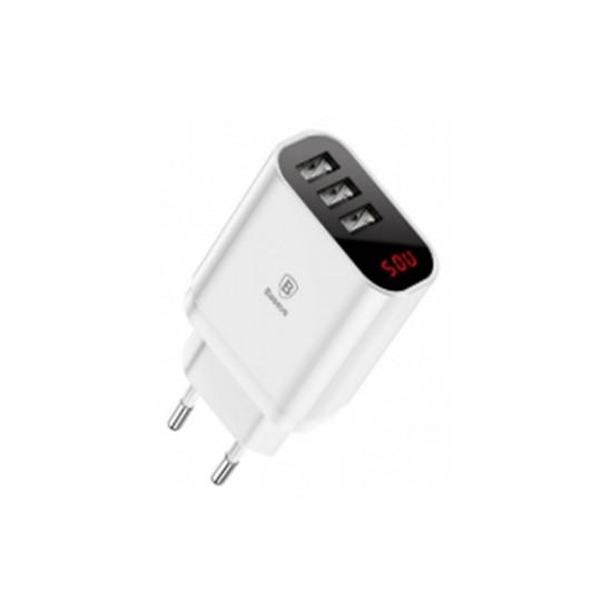 Củ Sạc Điện Thoại Baseus 3 Cổng USB EU USB CCALL-BH02 - Hàng Chính Hãng