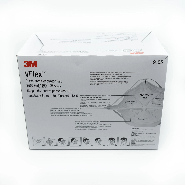 Bộ 25 khẩu trang dạng gấp Vflex chống virus, chống bụi, mùi hôi và kháng khuẩn N95 3M 9105 - bảo vệ hô hấp, dễ thở