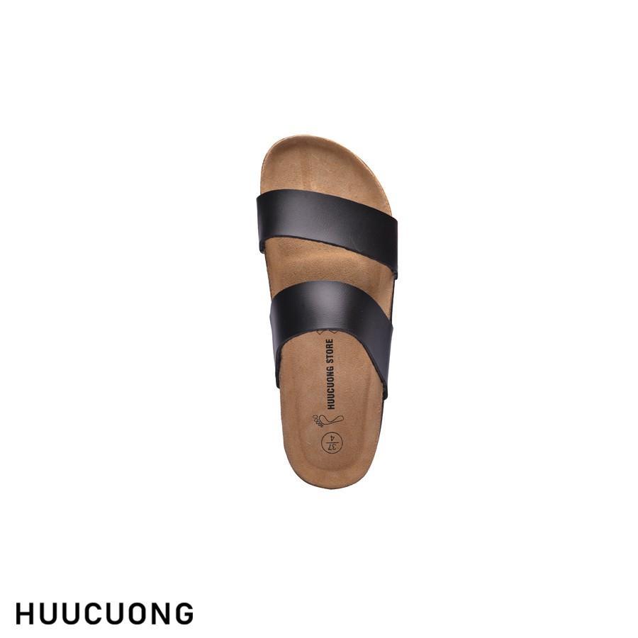 Dép unisex HuuCuong 2 quai pu đen đế trấu