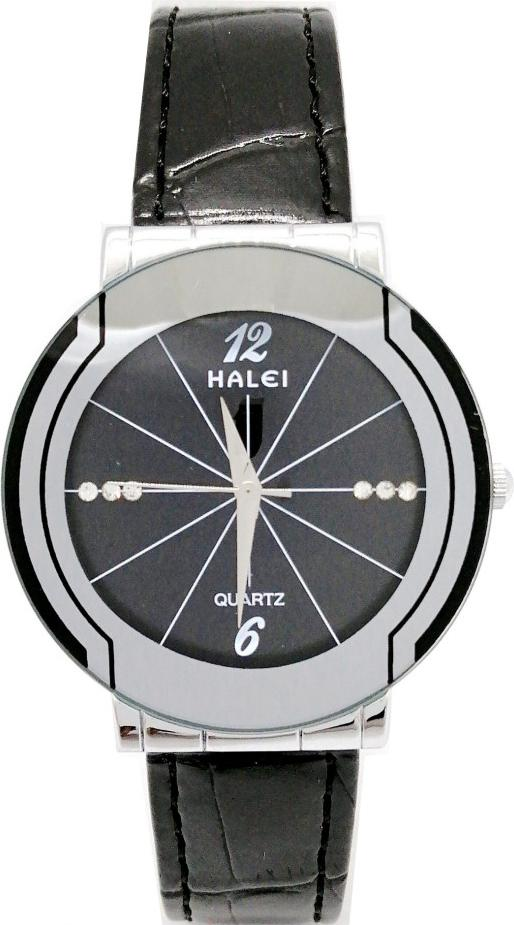 Đồng hồ Nam Halei - HL457 Dây da đen - Đen