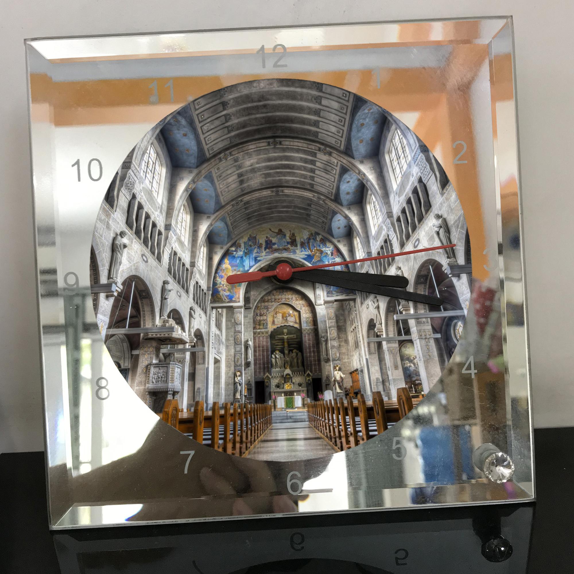 Đồng hồ thủy tinh vuông 20x20 in hình Church - nhà thờ (186) . Đồng hồ thủy tinh để bàn trang trí đẹp chủ đề tôn giáo