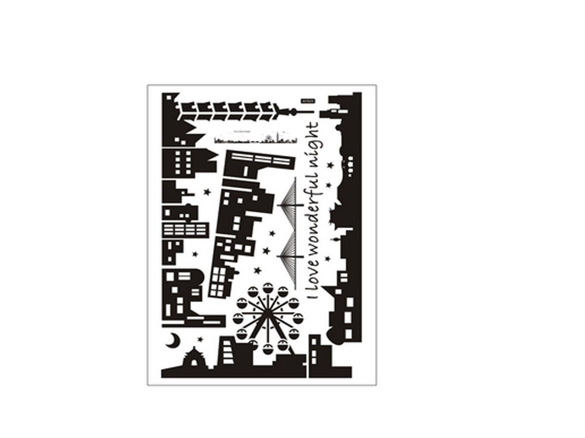 decal dán tường thành phố đen ay925
