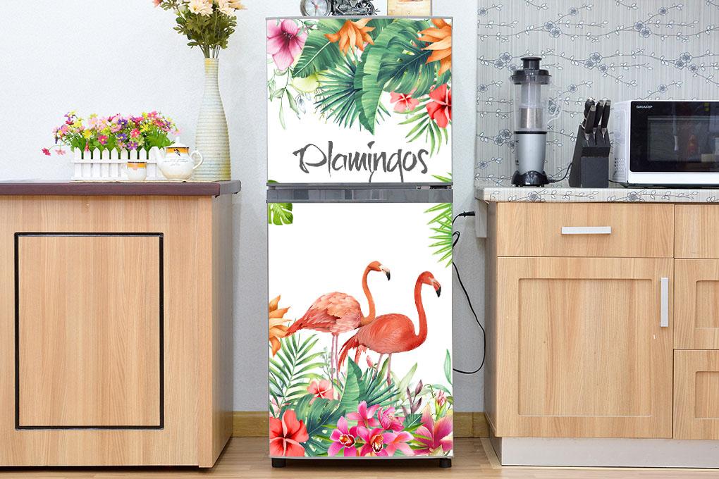 Decal dán trang trí tủ lạnh chống thấm cao cấp - mẫu chim Hồng Hạc(2)