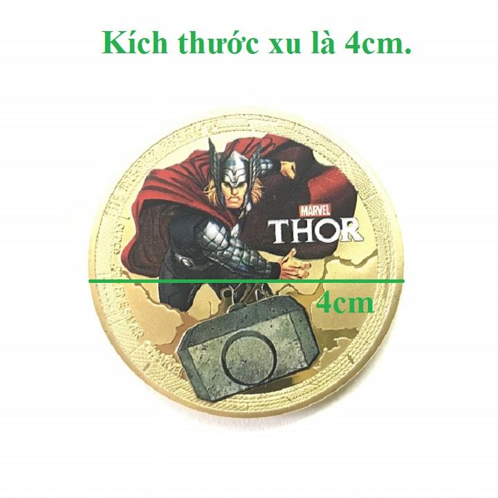 Xu lưu niệm Avengers Marvel Siêu Anh Hùng Thor Vàng, chất liệu Niken, đường kính xu 4cm, dùng để lưu niệm, sưu tầm, làm đồ thủ công mỹ nghệ - SP002465