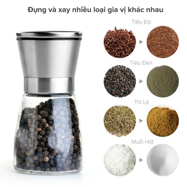 Lọ dụng cụ xay muối tiêu inox 304 tiêu chuẩn 5 sao