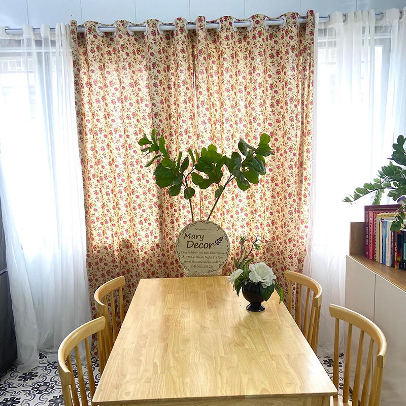 Rèm cửa sổ, rèm canvas, rèm decor MARYTEXCO trang trí nhà cửa, làm dịu nhẹ ánh sáng tự nhiên, rèm ore hoàn thiện tặng kèm dây buộc rèm vintage - họa tiết HOA HỒNG NHÍ R-G04 (Giao hàng cho vận chuyển trong 8h làm việc)