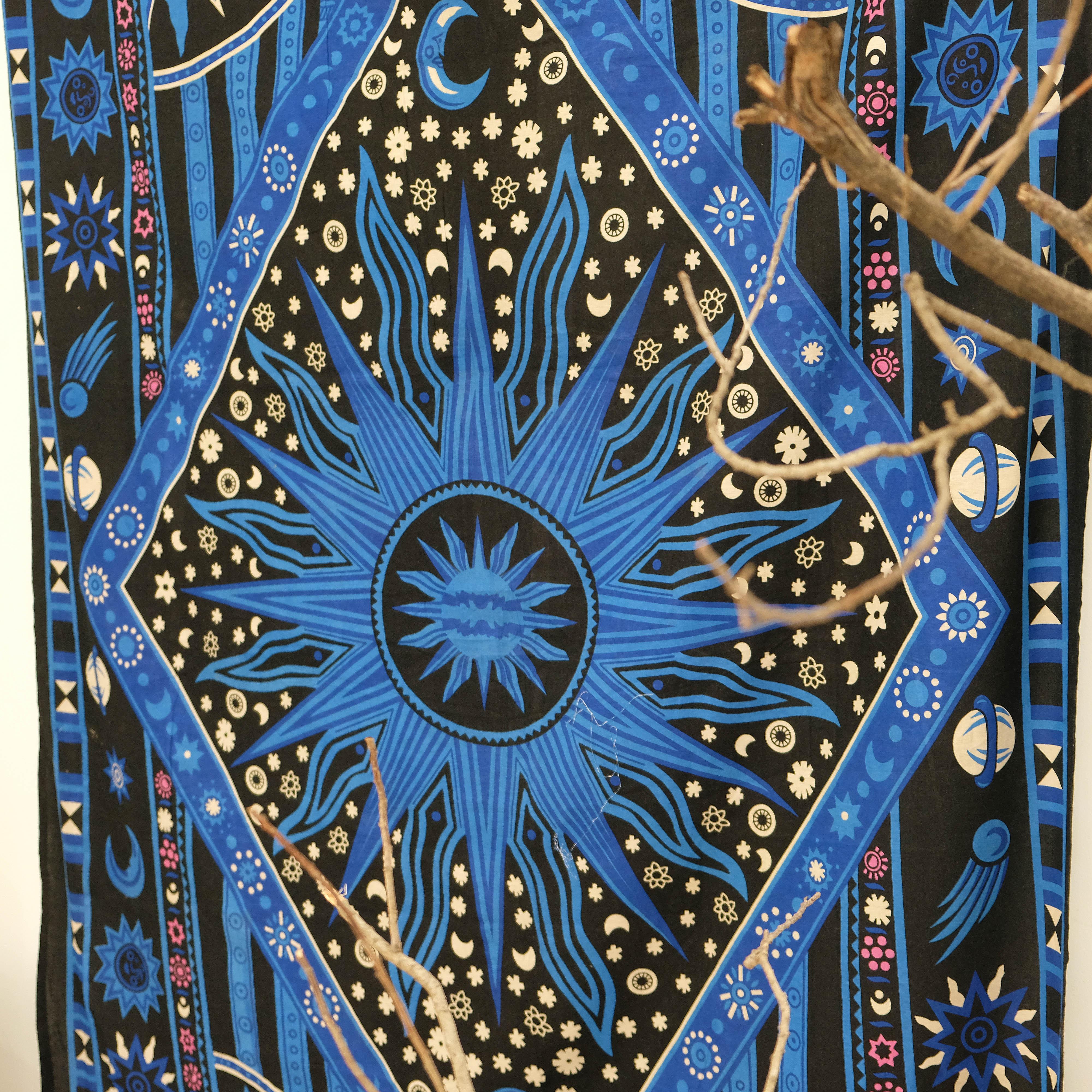 Vải treo tường trang trí hình galaxy màu xanh blue Tapestry Wallhanging 140cm x 220cm