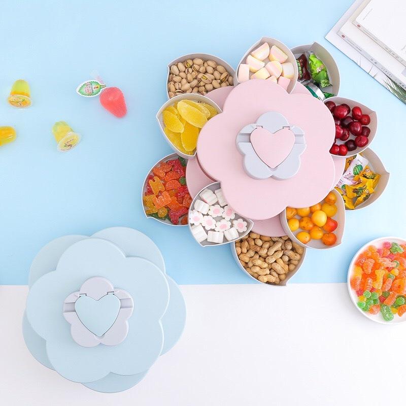 Hộp Đựng Bánh Mứt 2 Tầng Hình Hoa Xoay Siêu Cute Màu Xanh Blue