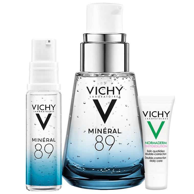 Hình ảnh Bộ sản phẩm Serum khoáng Phục hồi chuyên sâu với Mineral 89 30ml và Kem dưỡng giảm mụn giảm nhờn Vichy Normaderm Phytosolution 3ml